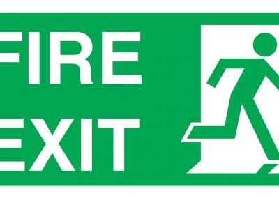fire exit sign with man sign