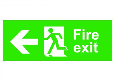 fire exit running and arrow left