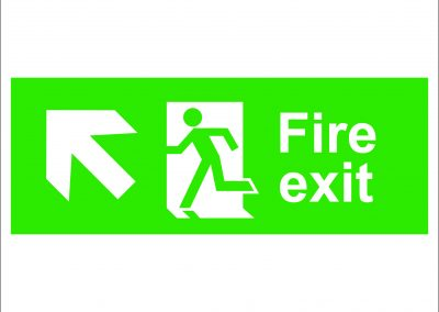 fire exit running and arrow left up