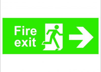 fire exit running and arrow right
