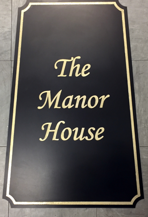 Black and Gold Manor House Sign