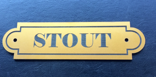 Black and gold Stout sign