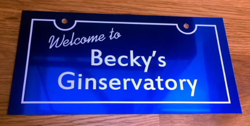 Blue and White Ginservatory Sign