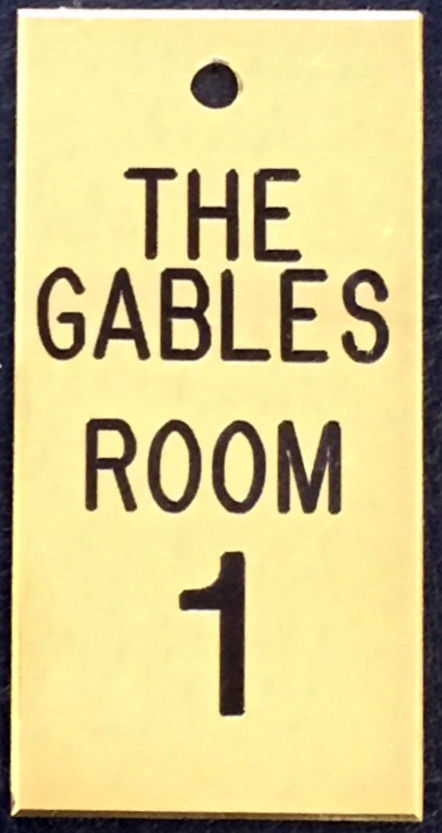 Engraved Brass Room Name and Number The Gables Room1