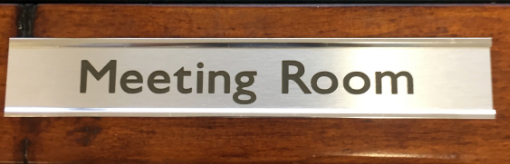 Silver coloured Meeting Room Sign