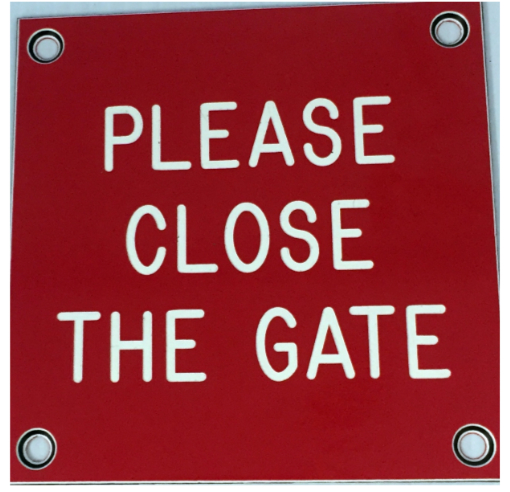 Red Please Close the Gate Sign