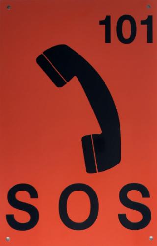 Orange and Black SOS Sign